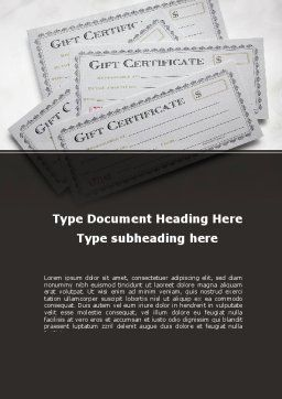 Gift Certificate Word Template, Cover Page, 09270, Financial/Accounting — PoweredTemplate.com