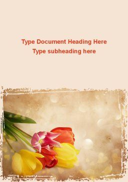 Tulip Word Template, Cover Page, 09274, Holiday/Special Occasion — PoweredTemplate.com