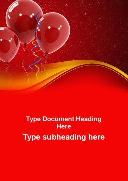 Red Balloons Word Template, Cover Page, 09279, Holiday/Special Occasion — PoweredTemplate.com