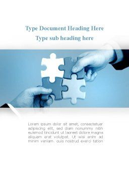 Blue Puzzle Solving Word Template, Cover Page, 09293, Business Concepts — PoweredTemplate.com
