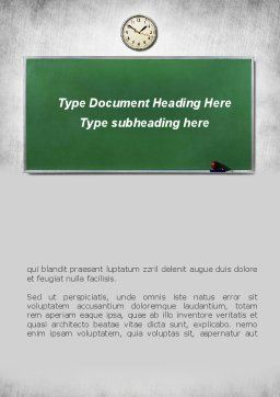 Blackboard In A Classroom Word Template Cover Page