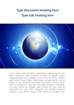Blue Colored Globe Word Template, Cover Page, 09308, Global — PoweredTemplate.com
