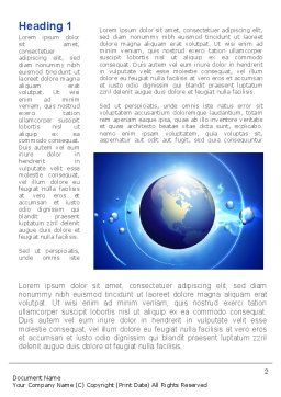 Blue Colored Globe Word Template First Inner Page