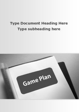 Game Plan Word Template, Cover Page, 09324, Consulting — PoweredTemplate.com