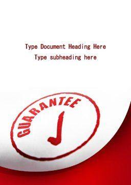 Guarantee Seal Word Template, Cover Page, 09331, Consulting — PoweredTemplate.com