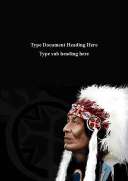 American Indian Chief Word Template, Cover Page, 09334, Flags/International — PoweredTemplate.com