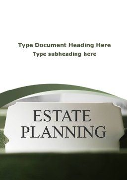 Estate Planning Word Template, Cover Page, 09348, Consulting — PoweredTemplate.com