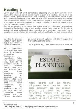 Estate Planning Word Template, First Inner Page, 09348, Consulting — PoweredTemplate.com