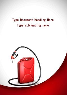 Gasoline Jerrycan Word Template Cover Page