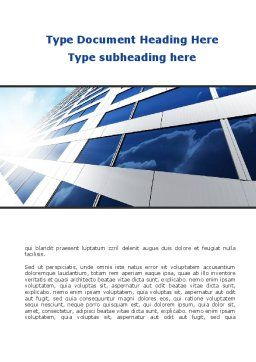 Blue Skyscraper Word Template, Cover Page, 09351, Construction — PoweredTemplate.com