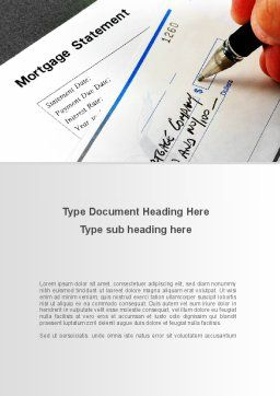 Mortgage Statement Word Template, Cover Page, 09355, Consulting — PoweredTemplate.com