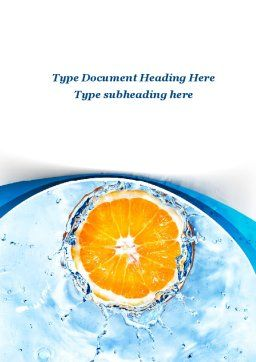 Orange In Pure Water Word Template, Cover Page, 09359, Food & Beverage — PoweredTemplate.com