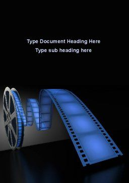 Film Reel In Dark Blue Color Word Template Cover Page