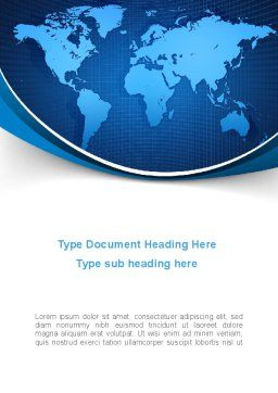 Global Map In Blue Word Template Cover Page