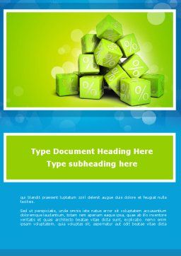Green Percent Cubes Word Template, Cover Page, 09375, Consulting — PoweredTemplate.com