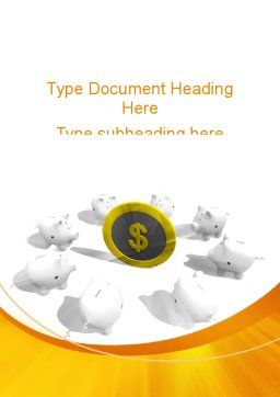 Piggy Bank Greedy Word Template, Cover Page, 09376, Consulting — PoweredTemplate.com