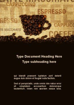Coffee Beans On A Canvas Word Template, Cover Page, 09388, Food & Beverage — PoweredTemplate.com