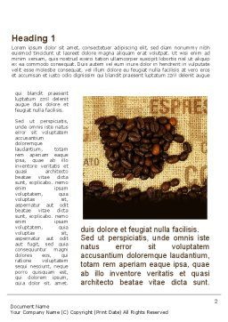 Coffee Beans On A Canvas Word Template, First Inner Page, 09388, Food & Beverage — PoweredTemplate.com
