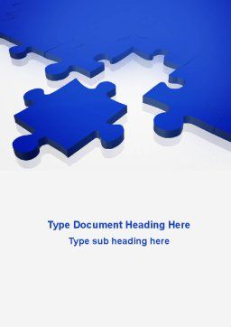 Blue Puzzle Word Template, Cover Page, 09400, Consulting — PoweredTemplate.com