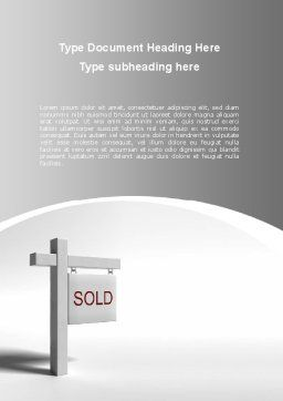 Sold Real Estate Word Template, Cover Page, 09409, Consulting — PoweredTemplate.com
