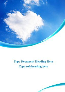 Heart In The Sky Word Template, Cover Page, 09410, Religious/Spiritual — PoweredTemplate.com