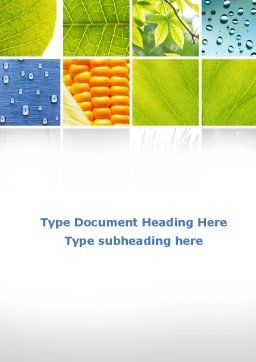 Wet Green Leaf Word Template, Cover Page, 09414, Agriculture and Animals — PoweredTemplate.com