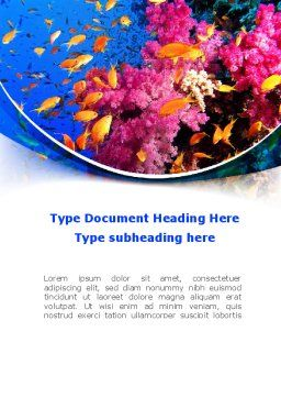 Coral Reef Fishing Word Template Cover Page
