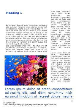 Coral Reef Fishing Word Template First Inner Page