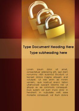 Brass Padlocks Word Template, Cover Page, 09427, Construction — PoweredTemplate.com