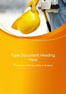 Construction Worker Word Template, Cover Page, 09434, Construction — PoweredTemplate.com