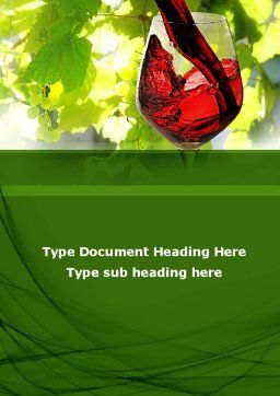 Red Winegrowing Word Template, Cover Page, 09440, Food & Beverage — PoweredTemplate.com
