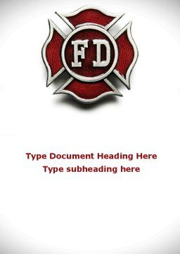 Fire Department Badge Word Template, Cover Page, 09447, Holiday/Special Occasion — PoweredTemplate.com