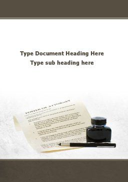 Power Of Attorney Word Template, Cover Page, 09453, Legal — PoweredTemplate.com