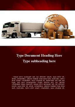 Cargo Delivery Service Word Template Cover Page