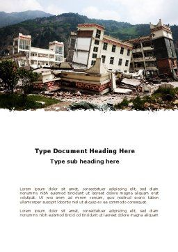 Destroyed Buildings Word Template, Cover Page, 09473, Construction — PoweredTemplate.com