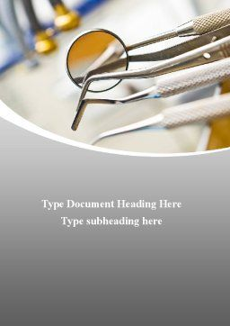 Dental Instruments Word Template, Cover Page, 09485, Medical — PoweredTemplate.com