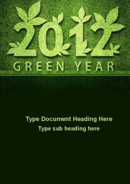 Green Year Word Template, Cover Page, 09487, Nature & Environment — PoweredTemplate.com