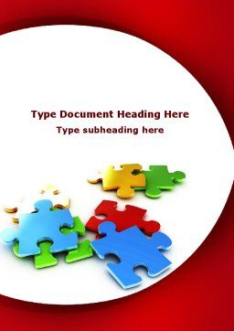 Colorful Puzzle Pieces Word Template, Cover Page, 09505, Consulting — PoweredTemplate.com