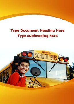 School Bus With Happy Pupil Word Template, Cover Page, 09506, Education & Training — PoweredTemplate.com