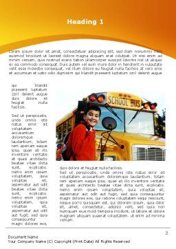 School Bus With Happy Pupil Word Template, First Inner Page, 09506, Education & Training — PoweredTemplate.com