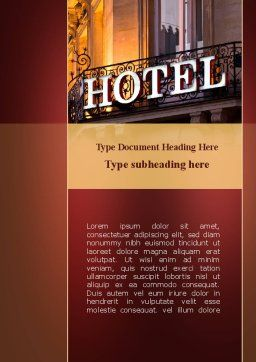 Hotel Signboard Word Template, Cover Page, 09516, Business — PoweredTemplate.com