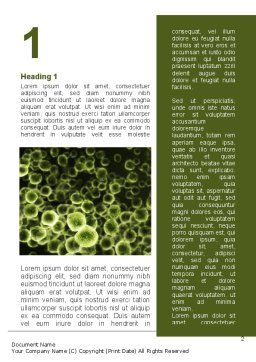 Green Bacteria Word Template, First Inner Page, 09527, Medical — PoweredTemplate.com