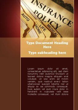 Insurance Policy Word Template, Cover Page, 09546, Legal — PoweredTemplate.com