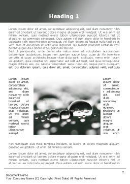 Water Drops in Black And White Word Template, First Inner Page, 09547, Nature & Environment — PoweredTemplate.com