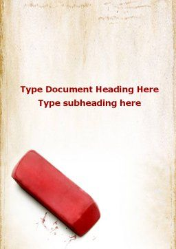 Eraser Word Template, Cover Page, 09548, Business Concepts — PoweredTemplate.com