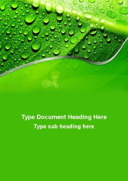 Dew In The Sun On A Green Leaf Word Template Cover Page
