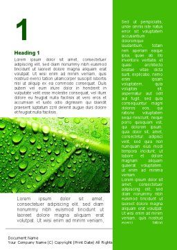 Dew In The Sun On A Green Leaf Word Template First Inner Page