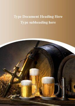 Beer Barrel Word Template, Cover Page, 09554, Food & Beverage — PoweredTemplate.com