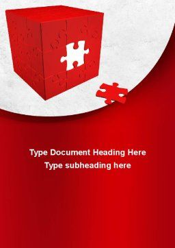 Red Cube Puzzle Word Template, Cover Page, 09561, Consulting — PoweredTemplate.com