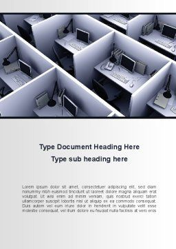 Office Space Cells Word Template, Cover Page, 09562, Construction — PoweredTemplate.com